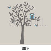 Owl in a Tree wall decal