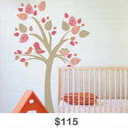 Tree with Birds Nest Wall Decal
