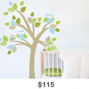 Tree with Family of Owls Wall Decal
