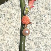 Schmuckanhänger Korallrose mit Perle