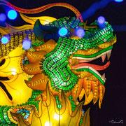 Qilin apportant le bon augure (groupe de lanternes composé avec 60 000 fioles médicinales)