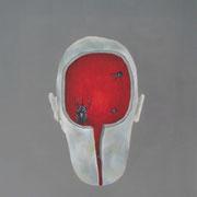 cabeza con escarabajo / 2007 / acrilico y oleo s-tela / 60x60 cm