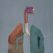 Pulmon con boca / 2006 / acrilico y oleo s-tela / 50x70 cm