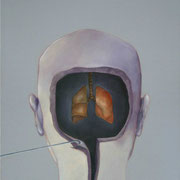 Cabeza con Pulmon / 2006 / acrilico y oleo s-tela /50x70 cm