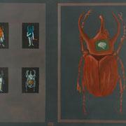 escarabajo rojo / 2007 / acrilico y oleo s-tela / 60x60 cm