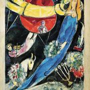 ⑥Marc Chagall,Monde rouge et noir,1951,gouache,aquarelle, pastel sur papier collé sur toile.Collection privée©Chagall SABAM Belgium 2015
