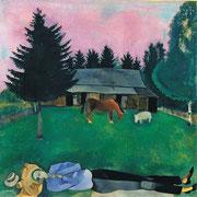 ③Marc Chagall,Le poéte allongé,1915,huile sur carton.Tate.Acquis en 1942.©Tate/Chagall SABAM Belgium 2015