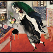 ⑤Marc Chagall,L'anniversaire,1915.huile sur carton.New York, Museum of Modern Art.Acquis grace au legs Lille P.Bliss,1945,inv.275.1945©The Museum of Modern Art, New York.SABAM, Belgium 2015/photo:Scala,Firenze