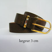 ceinture, cuir, serpent, marron, France