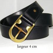 ceinture en cuir noir 4 cm
