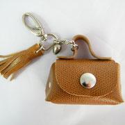 porte-clé, grelot, pompon, cuir, France