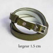 ceinture, femme, cuir, fine, vert bronze, France
