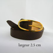 ceinture, cuir, marron, France, serpant