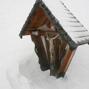 man beachte die Schneeflocken - waagrechter Schneesturm
