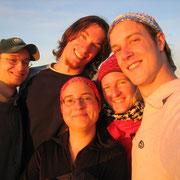 Christian, ich, Regina, Tina und Gerhard am abendlichen Gipfel...