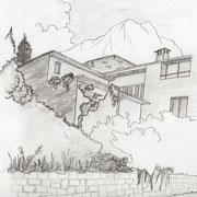 Mur en pierre avec plantations autour de la propriété