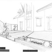 Terrasse bois, pierre et végétale