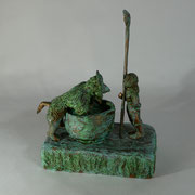 Wer mit dem Teufel Suppe essen will, braucht einen langen Löffel (H 24 cm, Bronze)