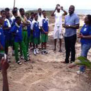 Secondary school students engaged in beach clean-up event in Nigeria