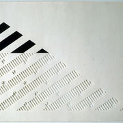 Drawing, stripes, cut with graphite