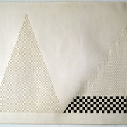 Drawing, two triangles, cut, woven, graphite
