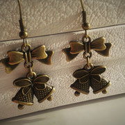 Steampunk Christmas Bell Earrings with Bronze Bows