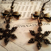 Steampunk Snowflake Earrings with Bronze Bows