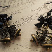 Steampunk Christmas Bell Earrings with Black Bows