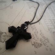 Black Cross Pendant Necklace