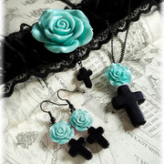 Black Cross with a Mint Rose Range