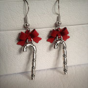 Candy Cane Earrings with Red Bows