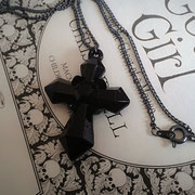 Black Cross Pendant Necklace
