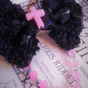 Black & Pink Beaded Bow with Cross
