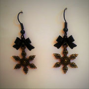 Steampunk Snowflake Earrings with Black Bows