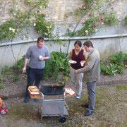 P. Stéphane, François Malleret et Anne Gérard, coordinatrice des JP, au bbq