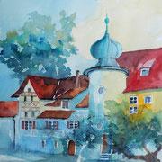 Elvira Walther: Steckborn Hotel-Restaurant, Aquarell 35x50 cm,
