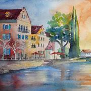 Elvira Walther: Konstanz, Aquarell 35x50 cm