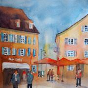 Elvira Walther: Konstanz Innenstadt, Aquarell 35x50 cm,