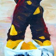 Füße eine Tänzerin, 2014, Acryl auf Papier, 50 x 70 cm