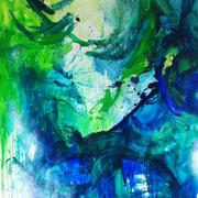 Blau-Grünes Bild 6, 2016, Acryl auf Papier, ca. 2,00 x 3,50 m