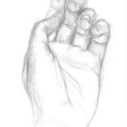 Handstudie, 2009 (gezeichnet im Alter von 18 Jahren), Bleistift auf Papier, ca. 20 x 30 cm