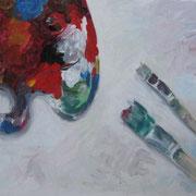 Pinsel und Palette, 2011, Acryl auf Papier, 50 x 70 cm