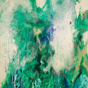 Blau-Grünes Bild 2, 2015, Acryl auf Papier, ca. 2,00 x 3,00 m