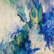 Blau-Grünes Bild 1, 2014, Acryl auf Papier, ca. 2,00 x 3,00 m