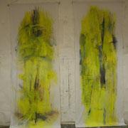 o.T., 2x (350x135 cm), Acryl und Folie auf Stoff (335+336)