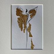 Alltagsengel I, VERKAUFT, Blattgold und Tusche auf Papier, in goldfarbenem Rahmen, inkl. Rahmen  32 x 23 cm