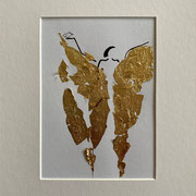 Alltagsengel IX, VERKAUFT  Blattgold und Tusche auf Papier, in goldfarbenem Rahmen, inkl. Rahmen  32 x 23 cm