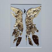 Alltagsengel XXIV, VERKAUFT  Blattgold und Tusche auf Papier, in goldfarbenem Rahmen, inkl. Rahmen  32 x 23 cm