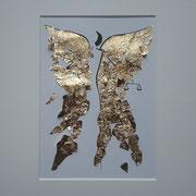 Alltagsengel XVIII,  VERKAUFT  Blattgold und Tusche auf Papier, in goldfarbenem Rahmen, inkl. Rahmen  32 x 23 cm