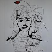 """""""Gedankenreise IV"""", Lack auf Papier, 90 x 70 cm"""